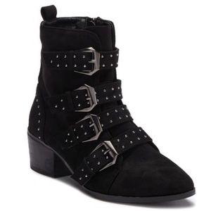 Catherine Malandrino faux suede moto buckle boots